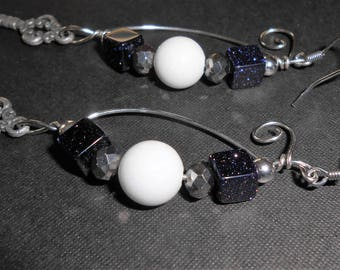"Bead and Wire Charm Earrings ""Through the Gates"" White Jade, Blue Stone Sparkle, Silver Key, Faceted Glass, Swirl, Spiral, Dangle, Handmade"