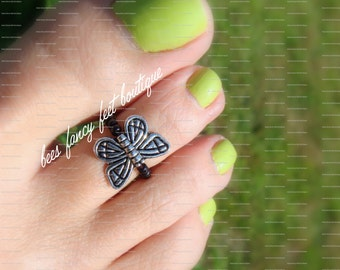 Butterfly Toe Ring, Butterfly Ring, Black Beads, Toe Ring, Ring, Stretch Bead Toe Ring