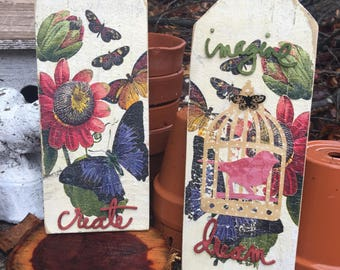 Vintage Wood Signs | Create | Dream | Homespun | Rustic Farmhouse | Handcrafted | One of a Kind | Spring Decor | Garden Decor