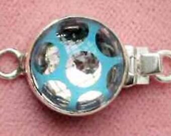 Neon Swarovski polka dot sterling silver box clasp