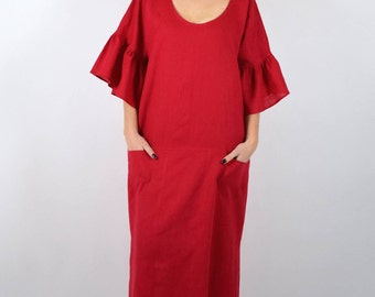 Caftan Dress Women, Long Caftan Dress, Maxi Caftan Dress, Oversized Dress, Loose Dress, 100% Linen Dress, Tunic Side Slit, Plus Size Caftan