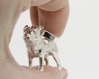 Vakkancs  Central Asian Sheepdog pendant (solid sterling silver, 3D)