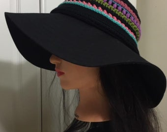Handmade hat/ Summer hat/ Breathable hat/ Sun hat/ Adjustable size/ Black