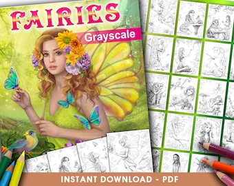 Printable Digital PDF - FAIRIES Coloring Book  Grayscale by Alena Lazareva Adult Coloring, instant DOWNLOAD. Coloring pages