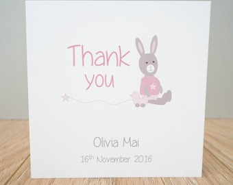 Personalised Baby Thank You Cards - Packs of baby thank you cards - baby girl thank you cards - baby boy thank you cards