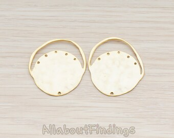 PDT605-MG // Matte Gold Plated Round Connector with Multi Loops Pendant, 2 Pc