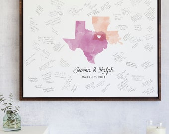 Wedding Guest Book Alternative Watercolor Map for Unique wedding guestbook canvas guest sign in idea with watercolor states - The Statelove