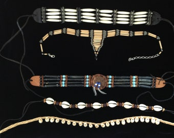 12 Vintage Native American Style Necklace Choker Lot - Sold as is