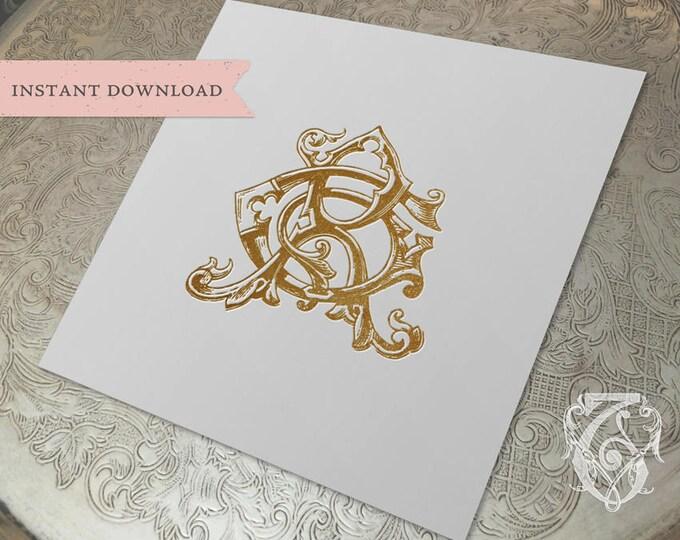 Vintage Wedding Monogram GR RG Digital Download G R