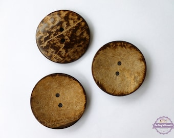 3 Extra Large Coconut Buttons - 2 inch Coconut Shell Button, Large Coconut Buttons,Coconut Wood Buttons
