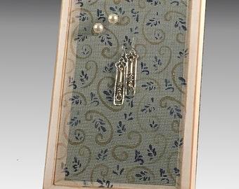 Shabby Chic Wood Frame Earring Holder for Pierced Earrings - Hand Painted Earring Organizer on Fiberglass Mesh. Swirl Design. Great Gift