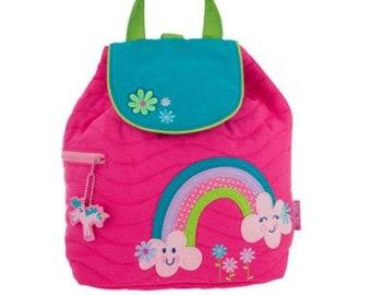 Personnalisé Stephen Joseph bambin matelassé arc-en-sac à dos, monogramme enfants sac à dos, sac à dos pour enfants d'âge préscolaire sac à dos