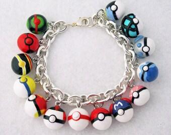 Custom Pokemon Pokeball Video Game Anime Bracelet with Your Choice of 14 Charms Gotta Catch Them All Pokemon Bracelet