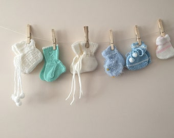 Vintage Baby booties lot of 6 sets  White Green Blue