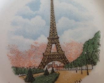 Vintage FRENCH LIMOGES Pin Tray~PARIS La Tour Eiffel Tower~Porcelaine  Dish