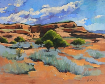 "Original oil landscape painting of Monument Valley, Utah, impressionistic, orange rocks, blue green sage brush, 18"" x 24"" streched canvas"