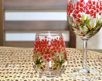 Floral Painted Wine Glasses