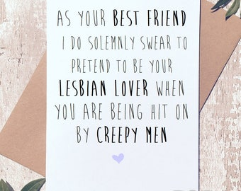 Awesome Funny Blank Greeting Card Best Friend Lesbian Lover Card Funny Novelty  Humor Happy Birthday BFF