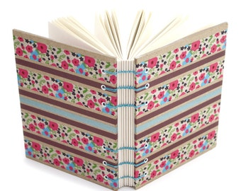 Lay Flat Journal - Flower Stripe Journal - handmade by Ruth Bleakley - 160 Page Unlined Journal