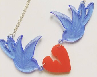 Acrylic Swallow Heart Necklace