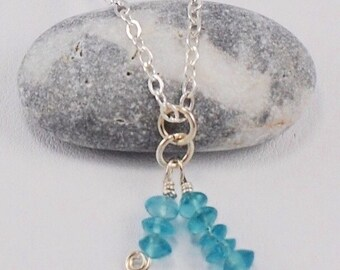 Green Blue Apatite Gemstone Pendant Necklace on Argentium Sterling Silver Chain