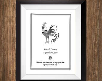 Custom Chinese Zodiac Art Print - Year of the Rooster
