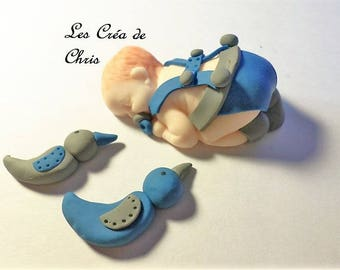 """baby boy """"nature"""" theme polymer clay."""
