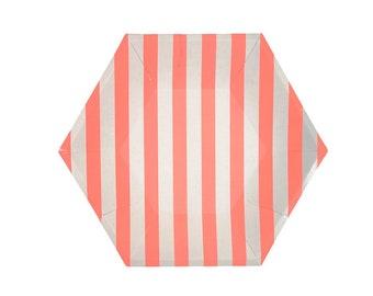 Coral Stripe Paper Plate, Large, Tableware, Party Supplies, Meri Meri
