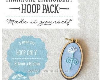 6.3 x 3.4 cm Mini Hoop. Hoop with pendant. Oval Brooch Kit, Embroidery Hoop Kit , 62 x 34mm Dandelyne Hoops. Miniature Hoop