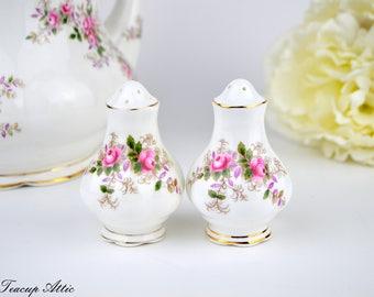 Royal Albert Lavender Rose Salt and Pepper Shakers, Replacement china, ca. 1961
