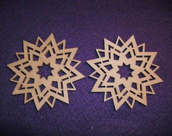 2 stars, wood, 7 cm (24-0022A)