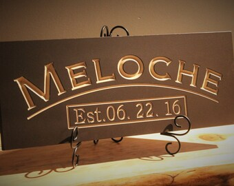 Last Name Sign Family Name wood sign CARVED Established Sign Plaque Last Name Sign Wall Sign Engraved Personalized