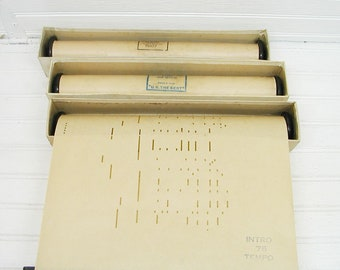 Music Decor - Vintage Player Piano Rolls Set of Three - Mary Lou - Top Notch - Wandering Boy - Primitive Paper - Music Room Project