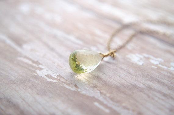 Lemon Quartz Necklace   Yellow Teardrop Necklace   Wire Wrapped Pendulum