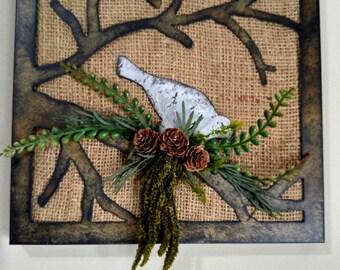 Metal Bird Burlap Art Wall Piece-Rustic Decor-Home Decor-Wall Decor-Garden Decor-Farmhouse Floral-Fixer Upper Style-Aviary Art-Traditional