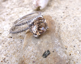 Unique engagement ring White Gold Morganite Engagement & Wedding Ring Set Bridal diamond rings promise ring rose gold Anniversary band ooak
