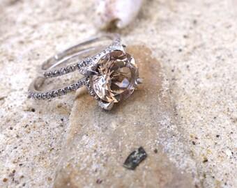 Unique Engagement Ring White Gold Morganite Engagement U0026 Wedding Ring Set  Bridal Diamond Rings Promise Ring Rose Gold Anniversary Band Ooak
