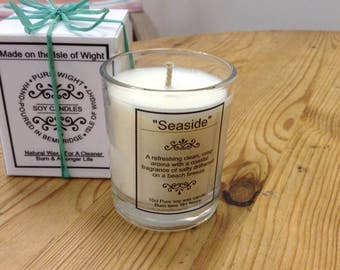 """Small """"Seaside"""" Fragrance Pure Soy Wax Candle."""