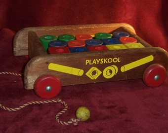 PlaySkool Wooden Wagon with Blocks and Rods Complete, with Nice Vintage Color and Wear all Working