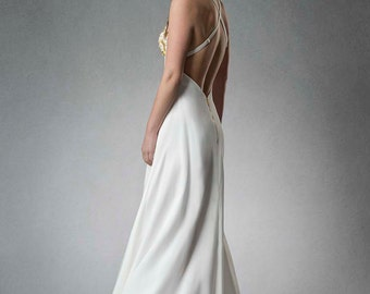 Estyn- Crossback Goldwork Embroidered Full Length Dress