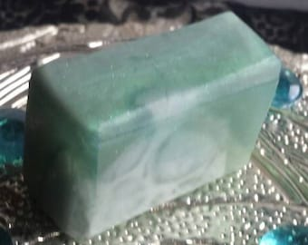 Karma Scented Handmade Soap /  Glycerin and  Shea Butter Soap / Green and White Swirled Soap /  2.5 oz Soap Bar