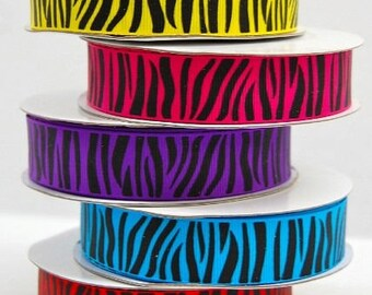 ZEBRA  Grosgrain 7/8 inch x 10 yards ...On Sale Now..Free Shipping