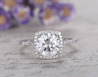 7.5mm Round Moissanite Engagement Ring Halo,14K white Gold bridal Set,moissanite wedding ring set,promise ring for heranniversary ring