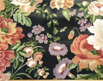 2 Yards Waverly Villa Carlotta Fabric,Screen Print,Floral,Cotton,Black,Home Decor,Purple,Green,Red