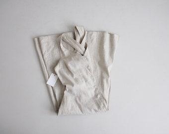 beige linen dress | criss cross strap | 90s linen dress