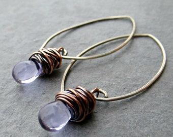 Lavender Drop Glass Earrings Teardrop Baubles Sterling Silver Earrings Copper Earrings Gifts Eco Friendly Jewelry