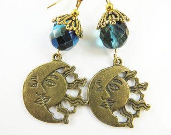 Golden sun moon earrings