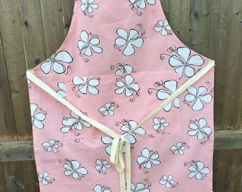 Handmade Pink Floral Cotton Apron, Upcycled Fabric