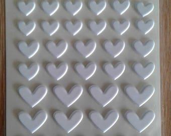 Bella blvd puffy milk white heart stickers