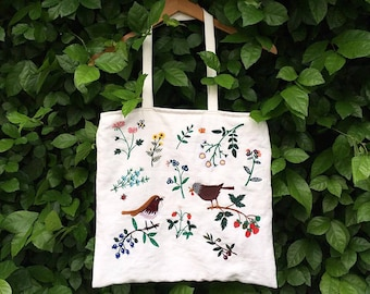Botanica Embroidered Linen Tote